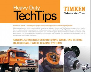 General Guidelines for Monitoring Wheel-End Setting in Adjustable Wheel Bearing Systems